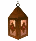 "10"" Red Jasper Stone Metal Lantern Hanging Pendant Light"