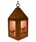 "10"" Running Wild Horses Metal Lantern Hanging Pendant Light"