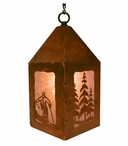 "10"" Skier and Pine Trees Metal Lantern Hanging Pendant Light"