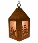 "10"" Snowboarder and Pine Trees Metal Lantern Hanging Pendant Light"