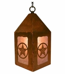"10"" Texas Western Star Metal Lantern Hanging Pendant Light"