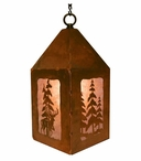 "10"" Whitetail Deer and Pine Trees Metal Lantern Hanging Pendant Light"