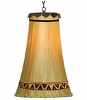 "12.5"" Southwest Design Hand Painted Rawhide Hanging Pendant Light"
