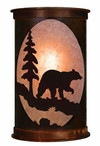 "13"" Bear and Pine Tree Half Round One Light Metal Wall Sconce"
