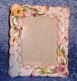 "13"" Capodimonte Picture Frame with Flowers"