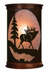 "13"" Elk and Pine Tree Half Round One Light Metal Wall Sconce"