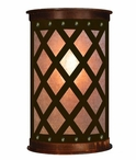 "13"" Lattice Half Round One Light Metal Wall Sconce"