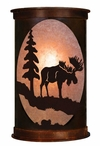 "13"" Moose and Pine Tree Half Round One Light Metal Wall Sconce"