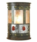 "13"" Red Jasper Stone Half Round One Light Metal Wall Sconce"