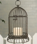 "13"" Rustic Brown Birdcage Pillar Candle Holder with Candle Pan"