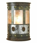 "13"" Unakite Stone Half Round One Light Metal Wall Sconce"