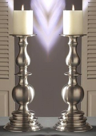 "14"" Pewter Pillar Candle Holder, Set of 2"