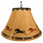 "16"" Appaloosa Horse Hand Painted Rawhide Hanging Pendant Light"