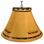 "16"" Canoe Hand Painted Rawhide Hanging Pendant Light"