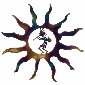 "16"" Kokopelli with Pot Sun Metal Wall Art by Robert Shields"
