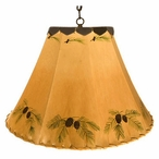 """16"""" Pine Cone Hand Painted Rawhide Hanging Pendant Light"""