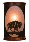 "17"" Buffalo on the Range Half Round One Light Metal Wall Sconce"
