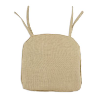 Burlap natural corded pleated foam chair pad with ties chair cushion