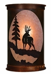 "17"" Deer and Pine Tree Half Round One Light Metal Wall Sconce"