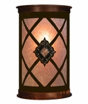 "17"" Diamond Copper Concho Half Round One Light Metal Wall Sconce"