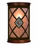 "17"" Diamond Silver Concho Half Round One Light Metal Wall Sconce"