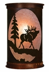 "17"" Elk and Pine Tree Half Round Metal Wall Light Cover"