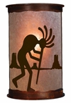 "17"" Kokopelli Desert Scene Half Round Metal Wall Light Cover"