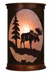 "17"" Moose and Pine Tree Half Round Metal Wall Light Cover"