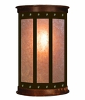 "17"" Rectangle Panel Nail Half Round One Light Metal Wall Sconce"