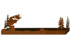 "18"" Bass Fish and Pine Trees Metal Wall Shelf with Ledge"