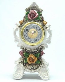 "18"" Capodimonte Table Clock with Colored Roses"