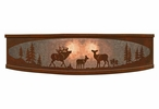 "18"" Elk Family in the Forest Metal Ceiling Light Fixture"