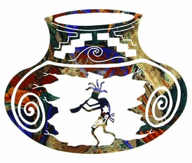 "18"" Kokopelli Southwest Pot Metal Wall Art by Neil Rose"