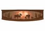 "18"" Moose Family in the Forest Metal Ceiling Light Fixture"