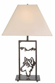 "18"" Night Watch Wolf Wildlife Metal Table Lamp with Shade"