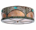 """18"""" Turquoise Stone and Concho Metal Ceiling Light Fixture"""