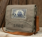 1862 Messenger Stonewashed Canvas and Soft Leather Tote Bag