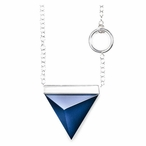 """19"""" Dark Blue Spectra I Crystal and Silver Necklace By Mats Jonasson"""