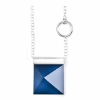 """19"""" Dark Blue Spectra II Crystal and Silver Necklace By Mats Jonasson"""