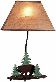 "20"" Bear and Pine Trees Wildlife Table Lamp & Shade by Neil Rose"