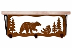 "20"" Bear Family Metal Wall Shelf and Hooks with Pine Wood Top"