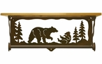 "20"" Bear Family Scene Metal Towel Bar with Alder Wood Top Wall Shelf"