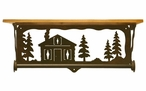 "20"" Cabin in the Pines Metal Towel Bar with Alder Wood Top Wall Shelf"