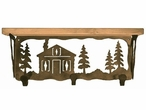 "20"" Cabin in the Pines Metal Wall Shelf and Hooks with Alder Wood Top"