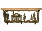 "20"" Cabin in the Pines Metal Wall Shelf and Hooks with Pine Wood Top"