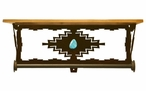 "20"" Desert Diamond Turquoise Metal Towel Bar with Pine Wood Top Shelf"