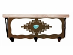 "20"" Desert Diamond with Turquoise Metal Wall Shelf & Alder Wood Top"