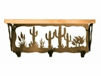 "20"" Desert Scene Metal Wall Shelf and Hooks with Alder Wood Top"