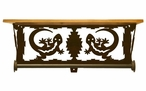 "20"" Gecko Lizard Scene Metal Towel Bar with Pine Wood Top Wall Shelf"
