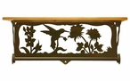 "20"" Hummingbird Scene Metal Towel Bar with Pine Wood Top Wall Shelf"
